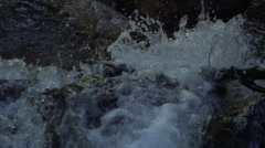 Close-up of a creek flowing in slow motion Stock Footage