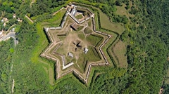 Aerial View of Star Shaped Fort Stock Footage