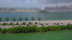 Aerial video Macarthur Causeway with cruise ships blurred out Stock Footage