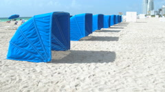 Cabanas on the beach Stock Footage