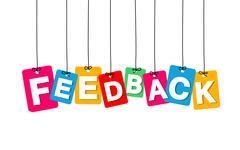 Vector colorful hanging cardboard. Tags - feedback Stock Illustration