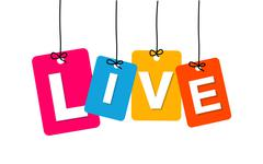 Vector colorful hanging cardboard. Tags - live Stock Illustration