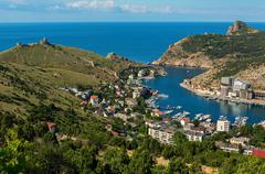 Balaklava is popular Crimean resort. Bay former submarine base - stock photo