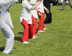 People expert martial arts Tai Chi train with movements to find the right pos Kuvituskuvat