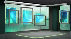 News TV Studio Set 188- Virtual Green Screen Background Loop - stock footage