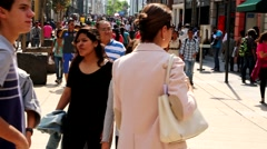 Mexico City, Downtown, People Walking on the Street. Stock Footage