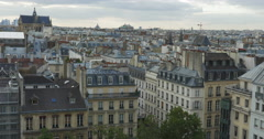 Panorama of Paris with flying pigeons Stock Footage
