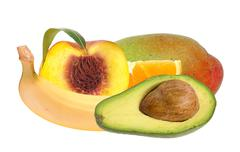 Fresh peach; banana, avocado, orange and mango fruits isolated on white Stock Photos