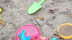 Kids, children playground sand pit and toys inside Stock Footage