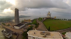 Murudeshwar Shiva Statue by the Ocean Stock Footage