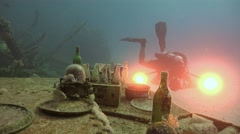Dive still life on the deck of the sunken ship. - stock footage