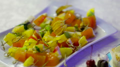 Different sort of fruit canape for a self service buffet Stock Footage