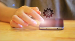 Hand touch screen smart phone.Digital technology concept,Social media Stock Footage