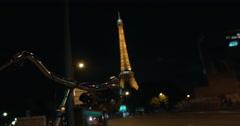 Car traffic on night street in Paris Stock Footage
