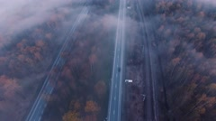 road. foggy. nature. fog clouds. - stock footage
