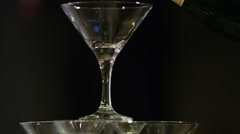 Pyramid from glasses of champagne on wedding party Stock Footage