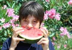 Very hungry child eating a slice of ripe watermelon in summer Stock Photos