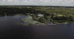 MetroWest Aerial Of Pond Stock Footage