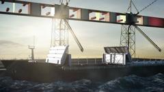 Bulk Carrier, Container Ship in shipyard, port.crane.dock. - stock footage