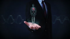 Businessman open palm, Rotating Human cardiovascular system, Blue X-ray light. - stock footage