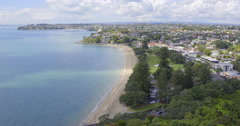 Aerial view of the Michael Savage memorial in Auckland New Zealand Stock Footage