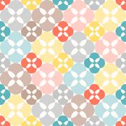 Seamless pattern. Classical geometrical texture, symmetrical colourful flower Stock Illustration