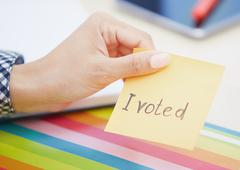 I voted text on adhesive note Stock Photos