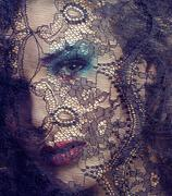 portrait of beauty young woman through lace close up mistery makeup - stock photo