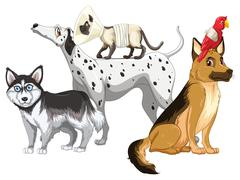 Sick dogs and cats Stock Illustration