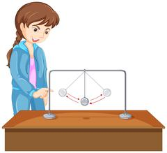 Girl experiment with gravity ball Stock Illustration