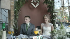 the couple at the table, wedding - stock footage