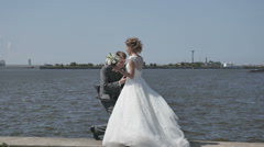 The proposal, the couple on the beach, wedding Stock Footage