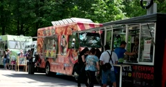 The food trucks in the park Stock Footage