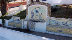Ornate, Portuguese decorated drinking fountain Stock Footage