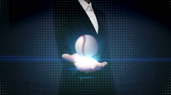 Businesswoman open palm, floating baseball, boll Stock Footage