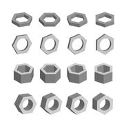 Hexagon. Monochrome set of geometric prism shapes, platonic solids, vector Piirros