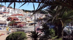 High wide shot, the main square in Carvoeiro, Portugal Stock Footage
