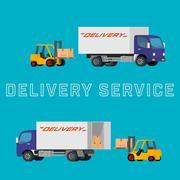 Flat concept illustration of delivery truck with forklift loading pallet Stock Illustration