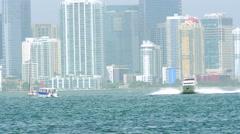 Boats and Brickell Miami scene Stock Footage