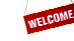 Swinging Welcome Banner. Stock Footage