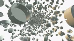 Flying ashtrays on white Stock Footage