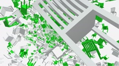 Flying wooden chairs in green and white colors Stock Footage