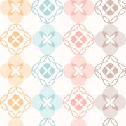 Seamless pattern. Classical geometrical texture, symmetrical, flower theme - stock illustration