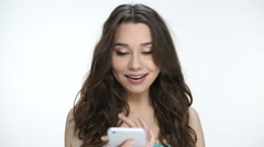 Girl talking on the cell phone and saying no Stock Footage