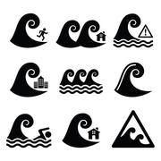 Tsunami, big wave warning, neutral disaster icons set Stock Illustration