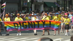 Gay Parade in New York City Dignity banner Stock Footage