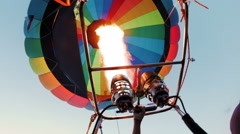 Hot air baloon double burner firing in air Stock Footage