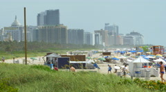 Miami Beach croweded for the 4th of July weekend Stock Footage