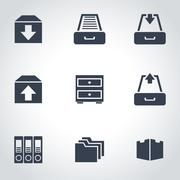 Vector black archive icon set Stock Illustration