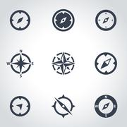 Vector black compass icon set - stock illustration
